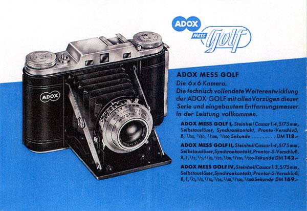 Die Versionen der ADOX Mess-Golf in einem Broschürchen von 1954. Die Werbebroschüre wurde mir dankenswerter Weise von Bernd KLuge zur Verfügung gestellt.