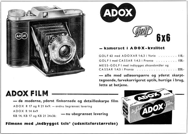Anzeige ADOX Golf von 1956