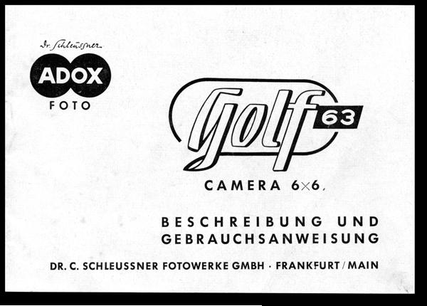 Bedienungsanleitung für ADOX Golf 63 von 1954